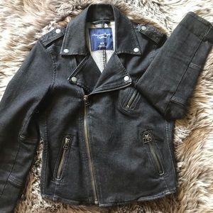 American Eagle Dark Denim Moto Jacket